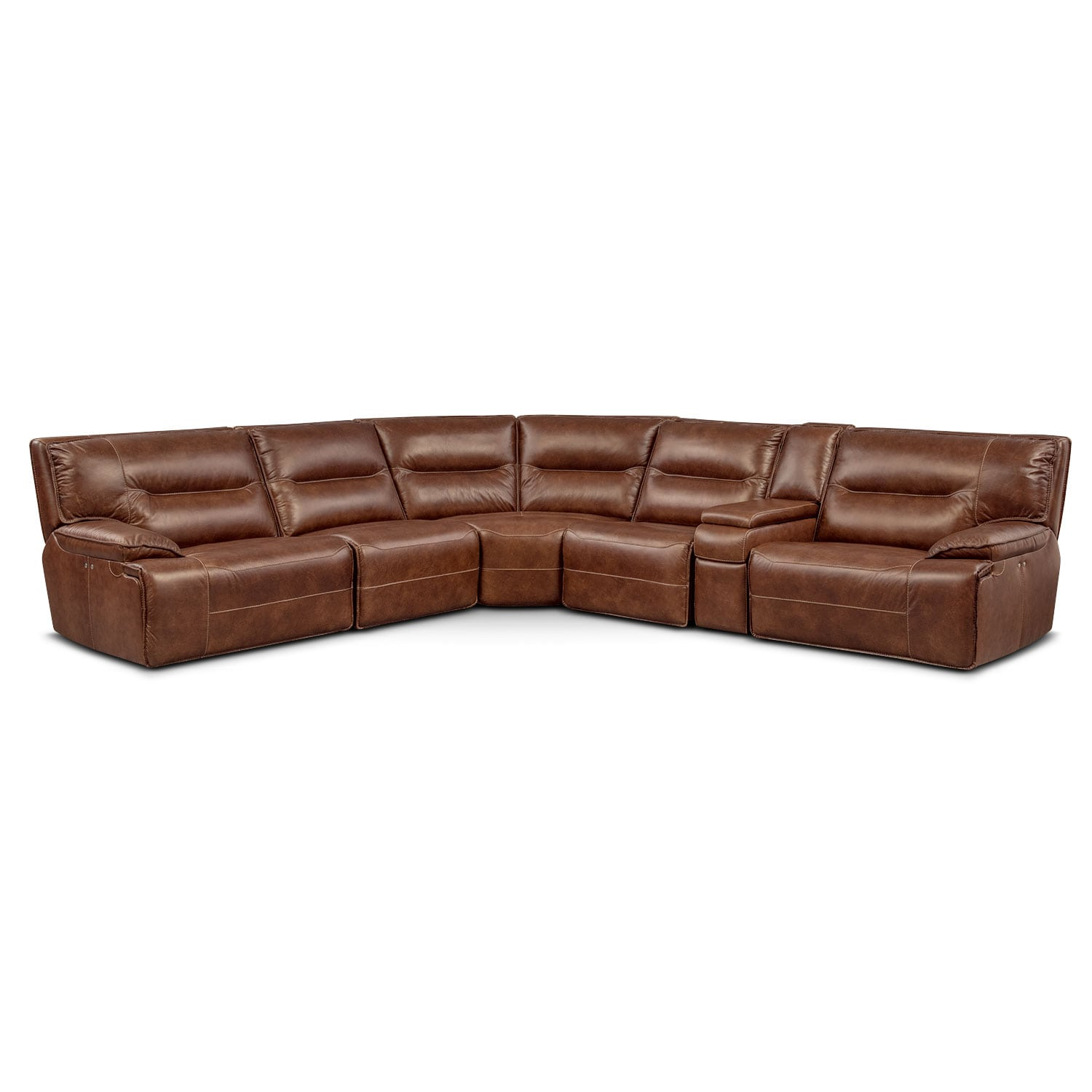 Living Room Furniture - Glenmont 6-Piece Power Reclining Sectional with 2 Power Recliners - Brown