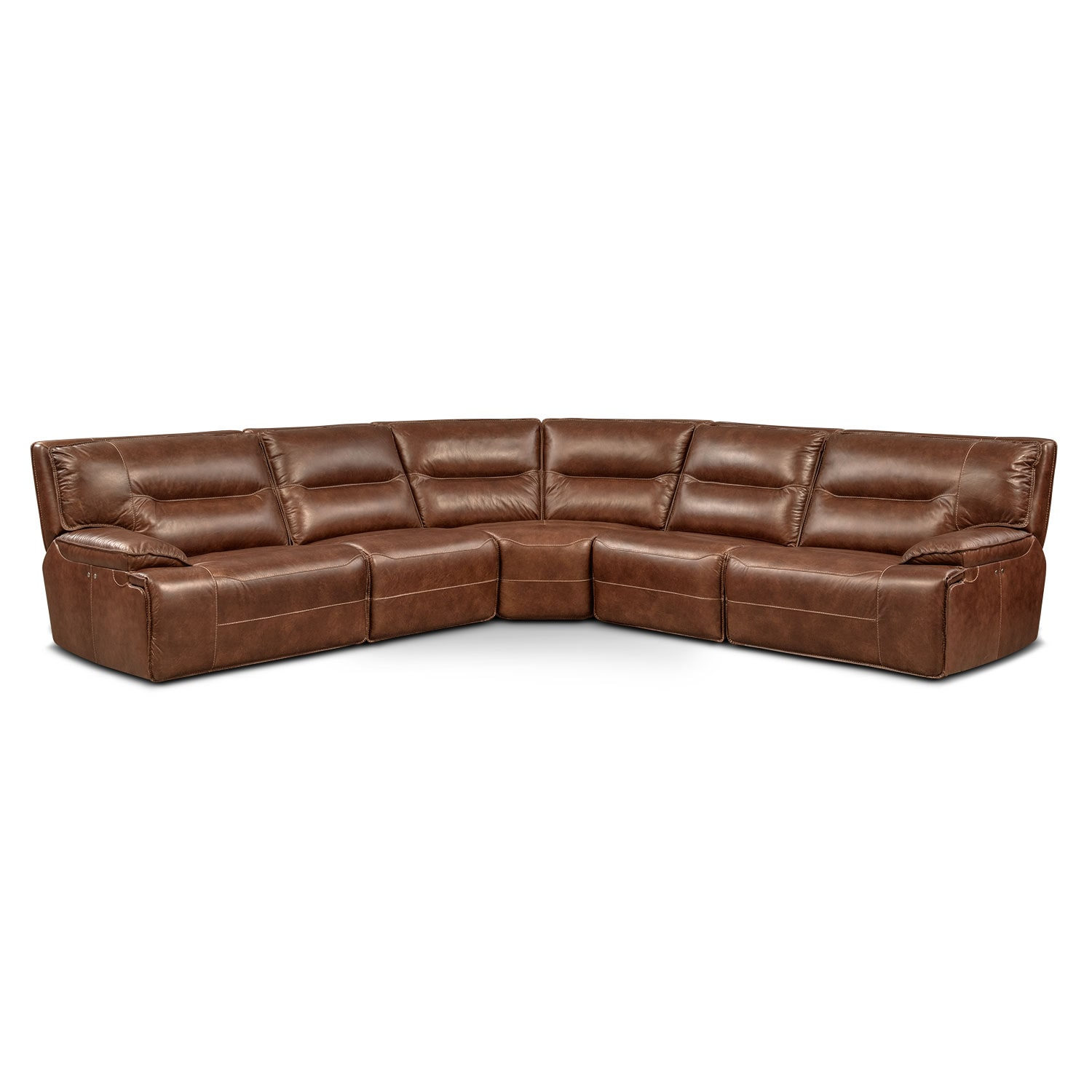 Living Room Furniture - Glenmont 5-Piece Power Reclining Sectional with 2 Recliners - Brown