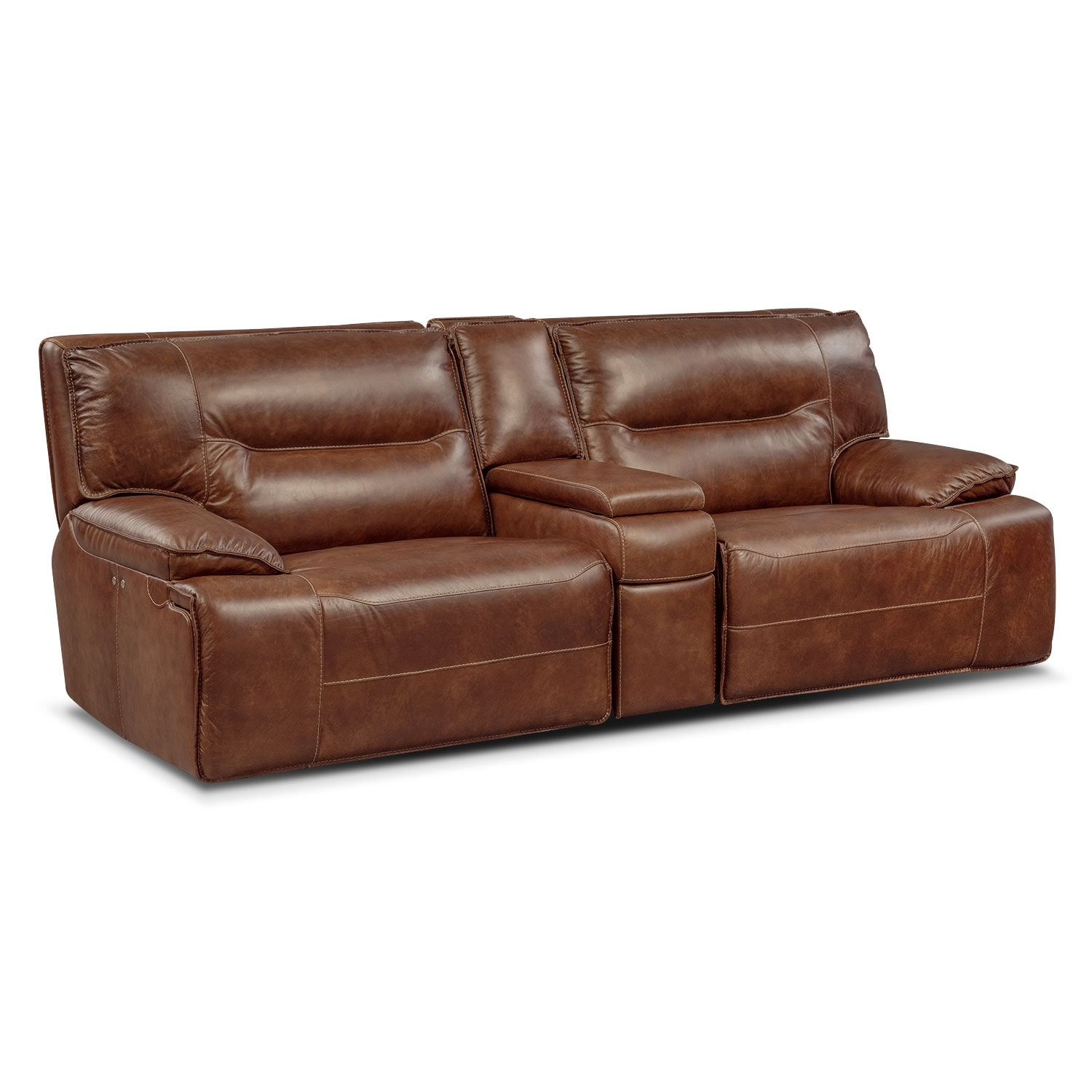 Living Room Furniture - Glenmont Brown 3 Pc. Power Reclining Sectional w/ Console