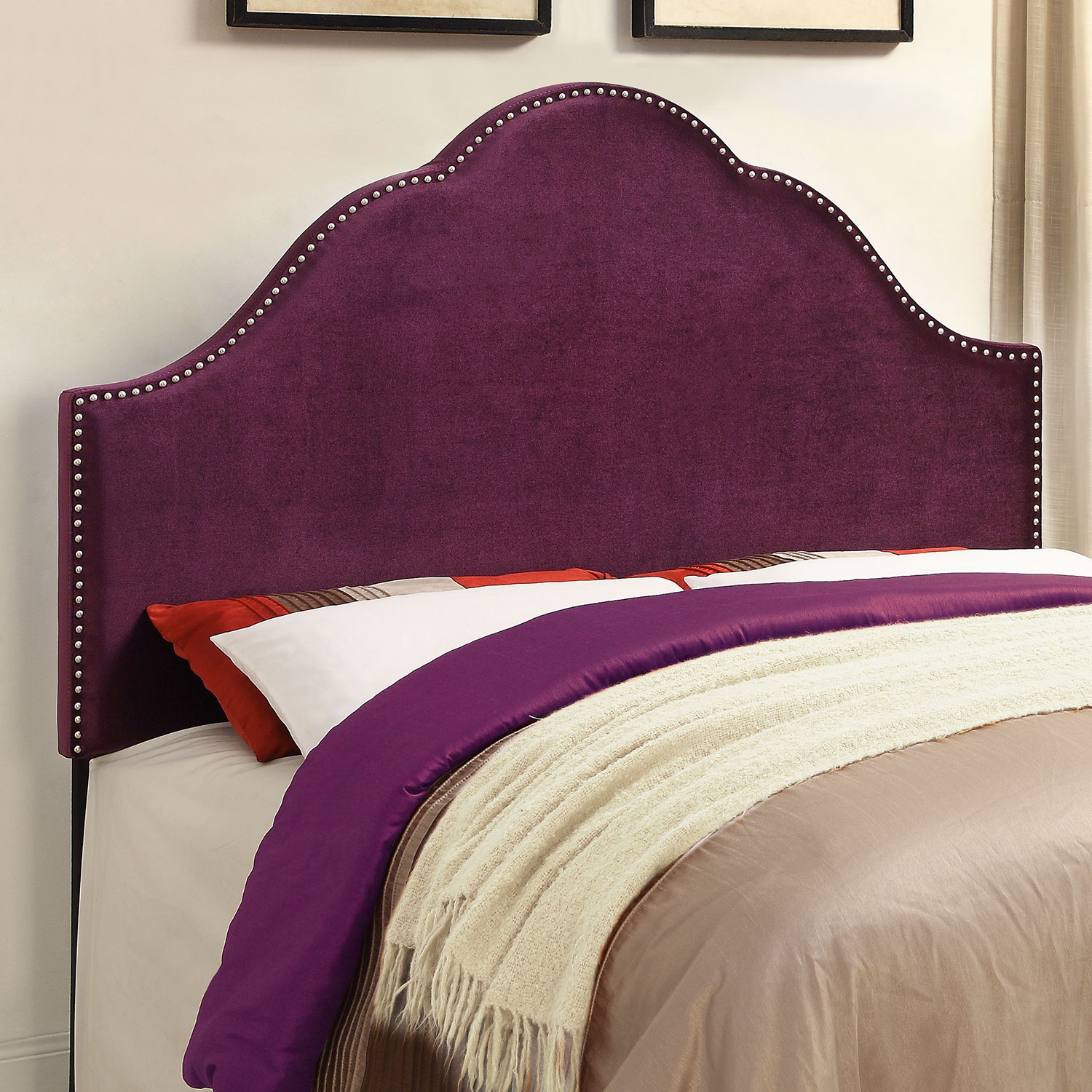 Bedroom Furniture - Delaney Queen Headboard - Plum