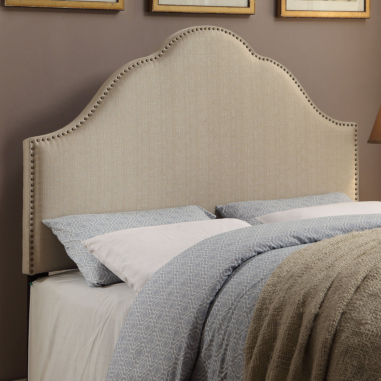 Bedroom Furniture - Delaney King Headboard - Oatmeal