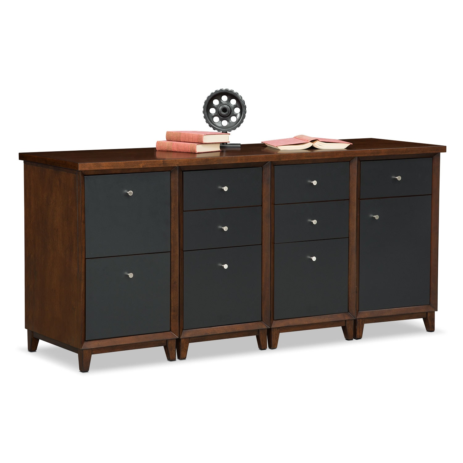 Home Office Furniture - Oslo Black Credenza Desk