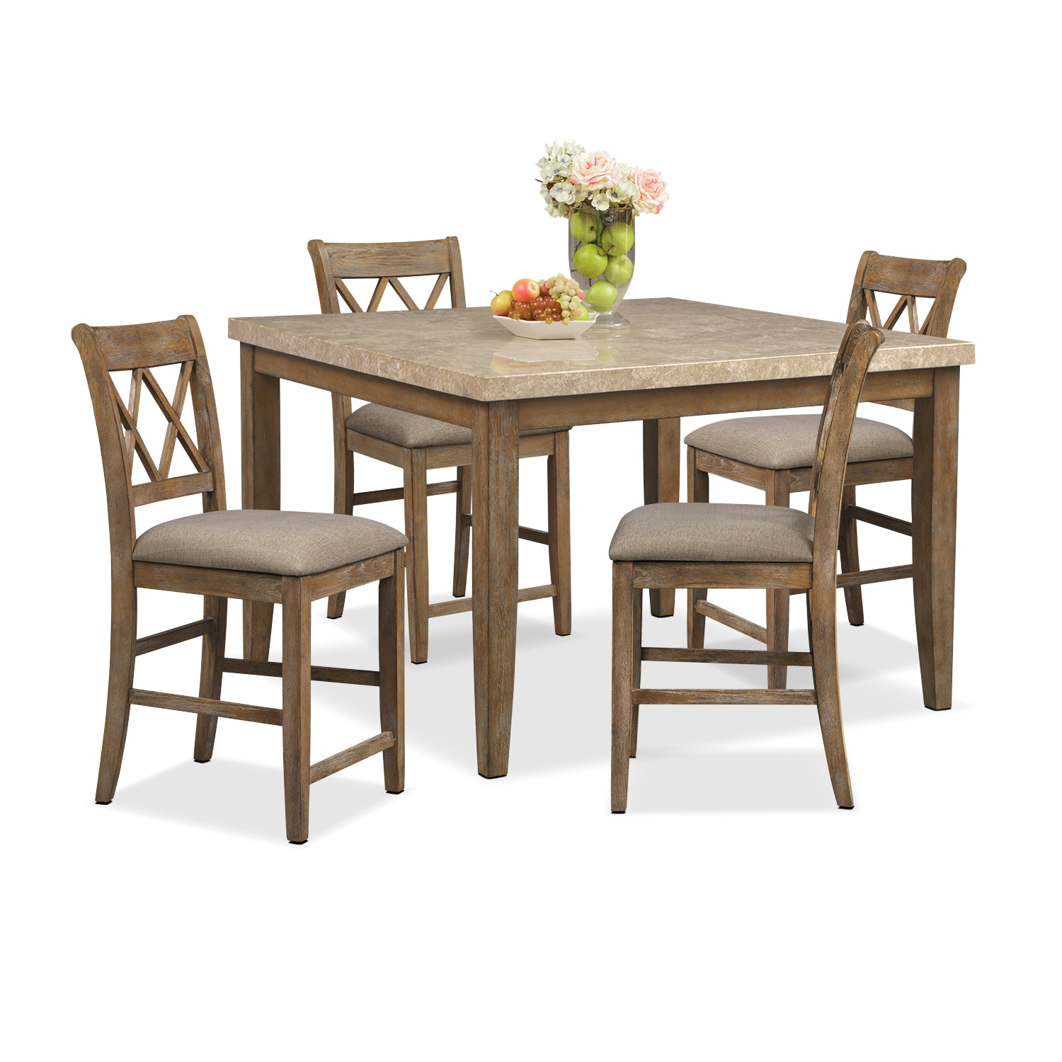 Dining Room Furniture - Sedona Gray 5 Pc. Counter-Height Dining Room