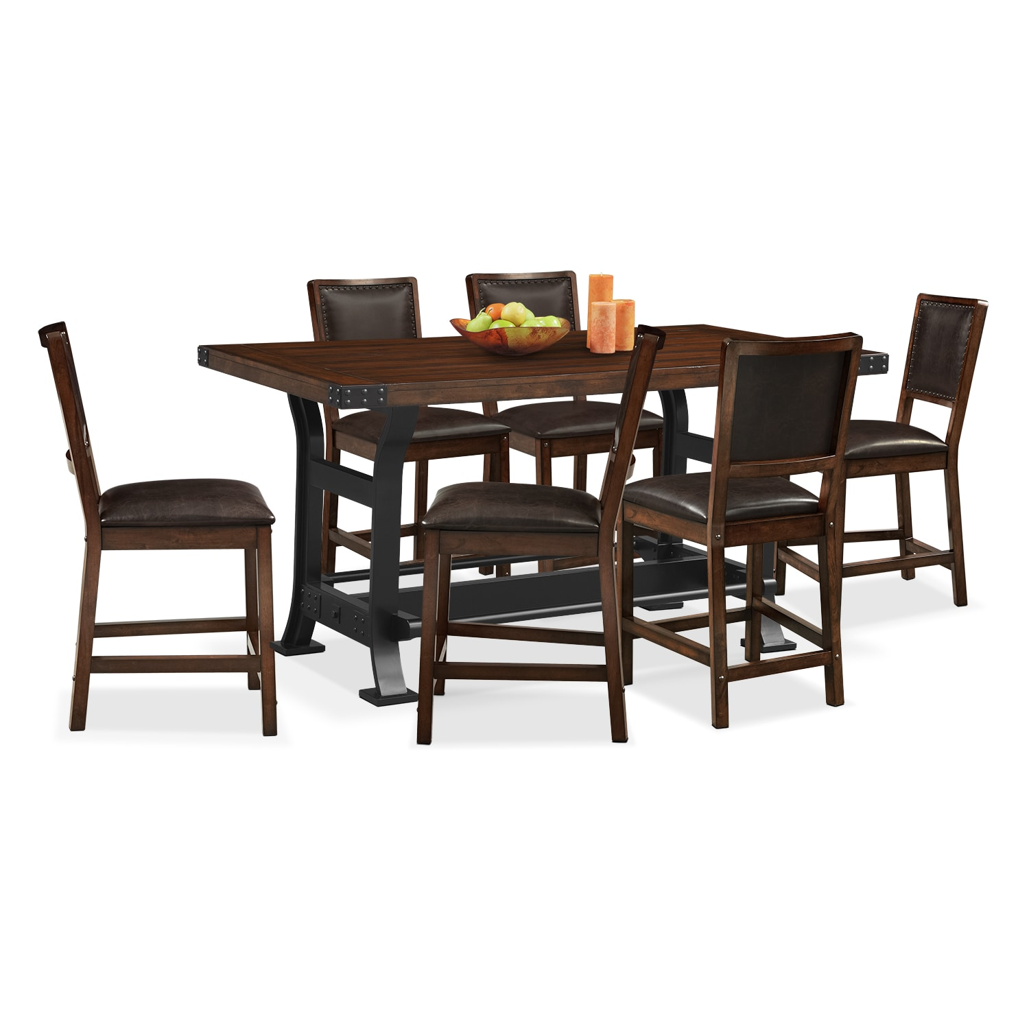 Dining Room Furniture - Newcastle Counter-Height Table and 6 Chairs - Mahogany