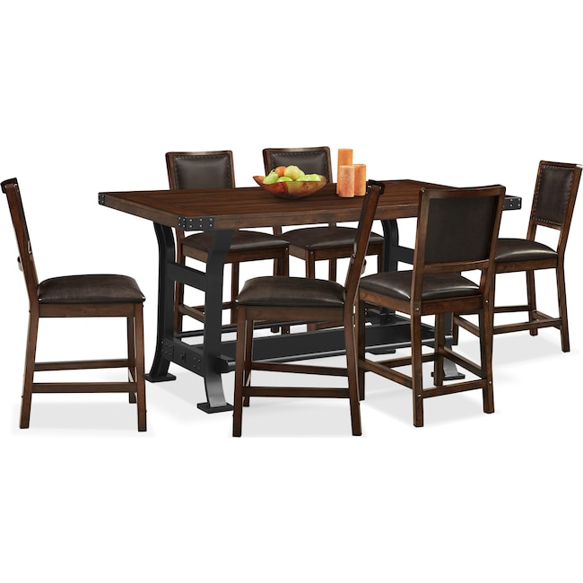 Newcastle Counter-Height Table And 6 Chairs - Mahogany | Value
