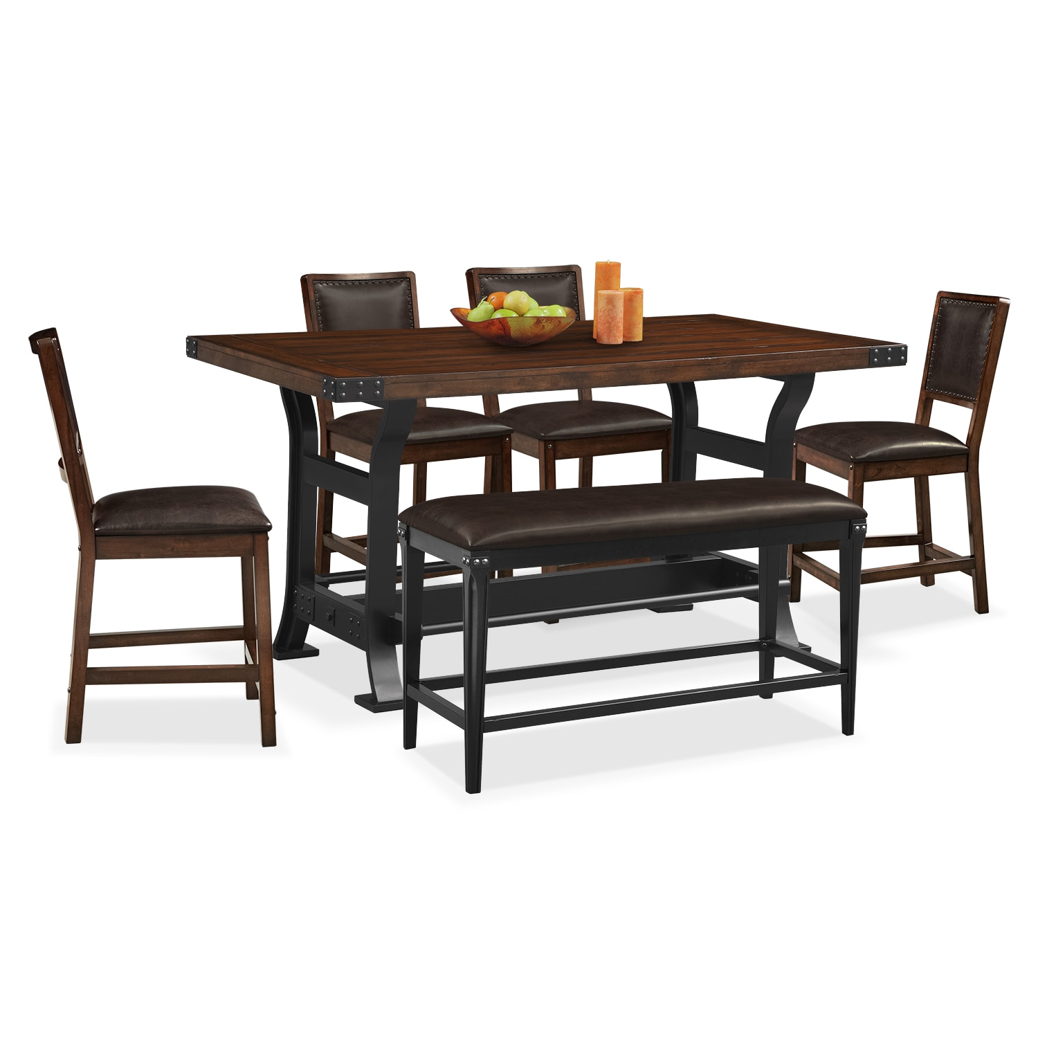 newcastle counter height table 4 chairs and bench mahogany value city furniture. Black Bedroom Furniture Sets. Home Design Ideas