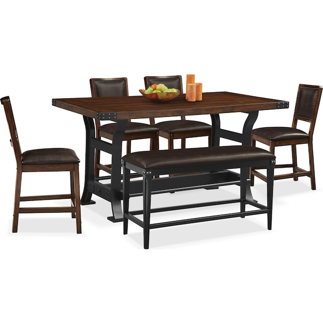 Dining Room Furniture - Newcastle Counter Height Table, 4 Chairs and Bench - Mahogany
