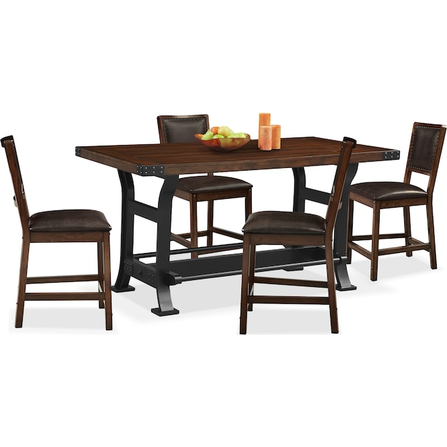 Dining Room Furniture - Newcastle Counter-Height Dining Table and 4 Side Chairs