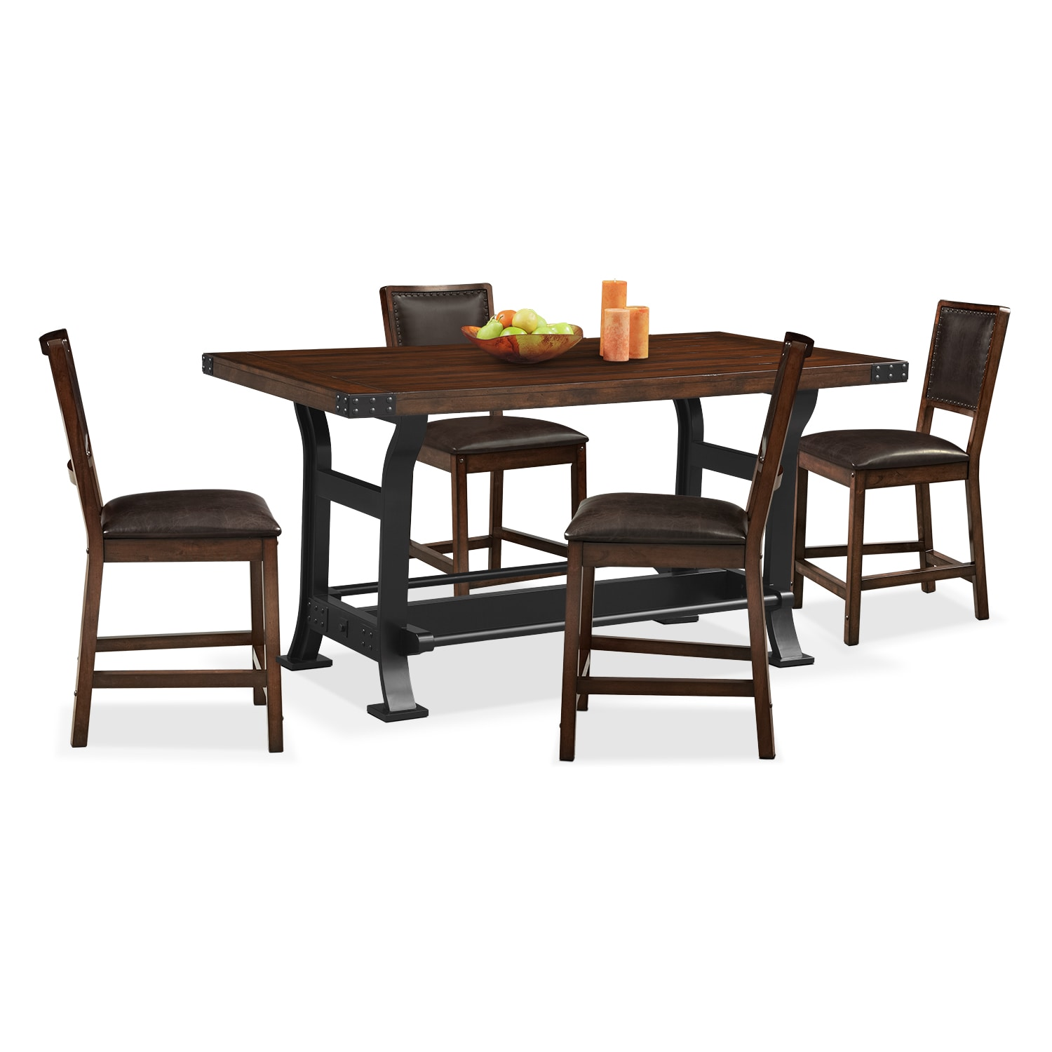 Newcastle Counter Height Dining Table And 4 Side Chairs   Mahogany