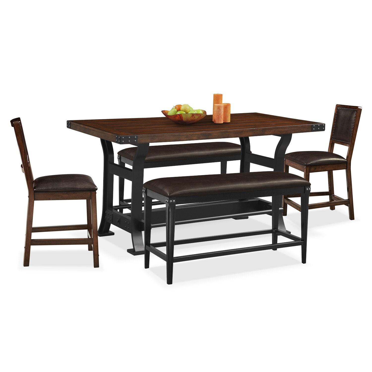 Dining Room Furniture - Newcastle Counter-Height Table, 2 Side Chairs and Benches