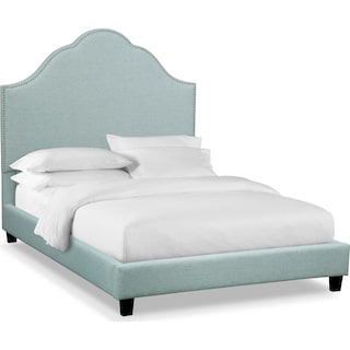 Maya Queen Upholstered Bed - Aqua