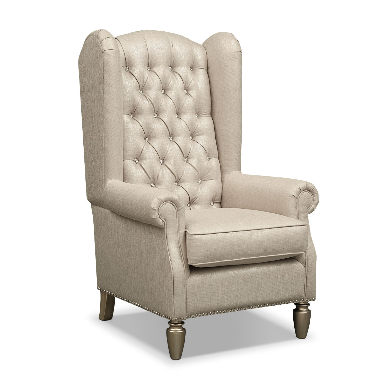 Cleo accent chair platinum value city furniture for Occasional furniture