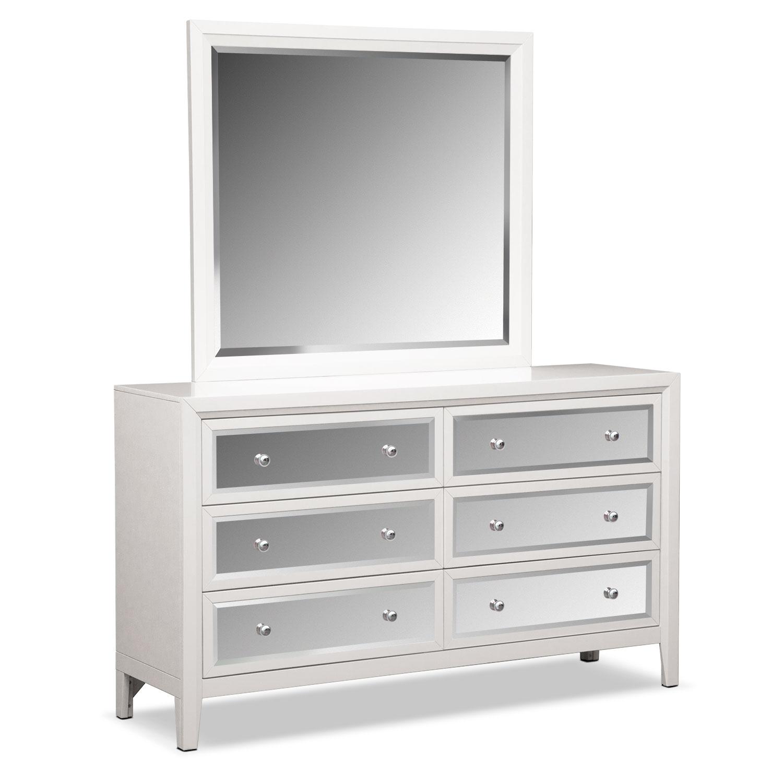 bonita dresser and mirror - white   value city furniture and mattresses
