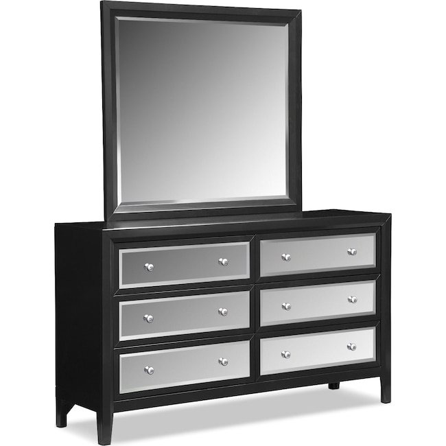 Bedroom Furniture - Bonita Dresser and Mirror - Black