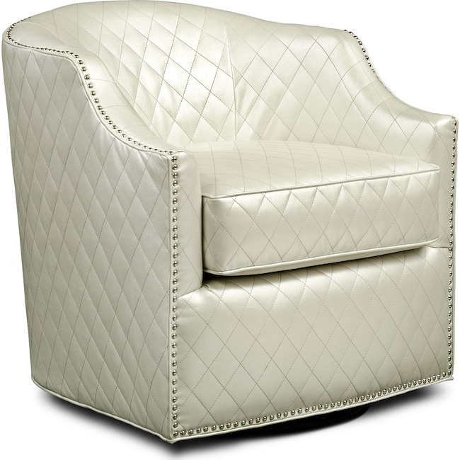 Accent and Occasional Furniture - Roxie Swivel Chair - Pearl