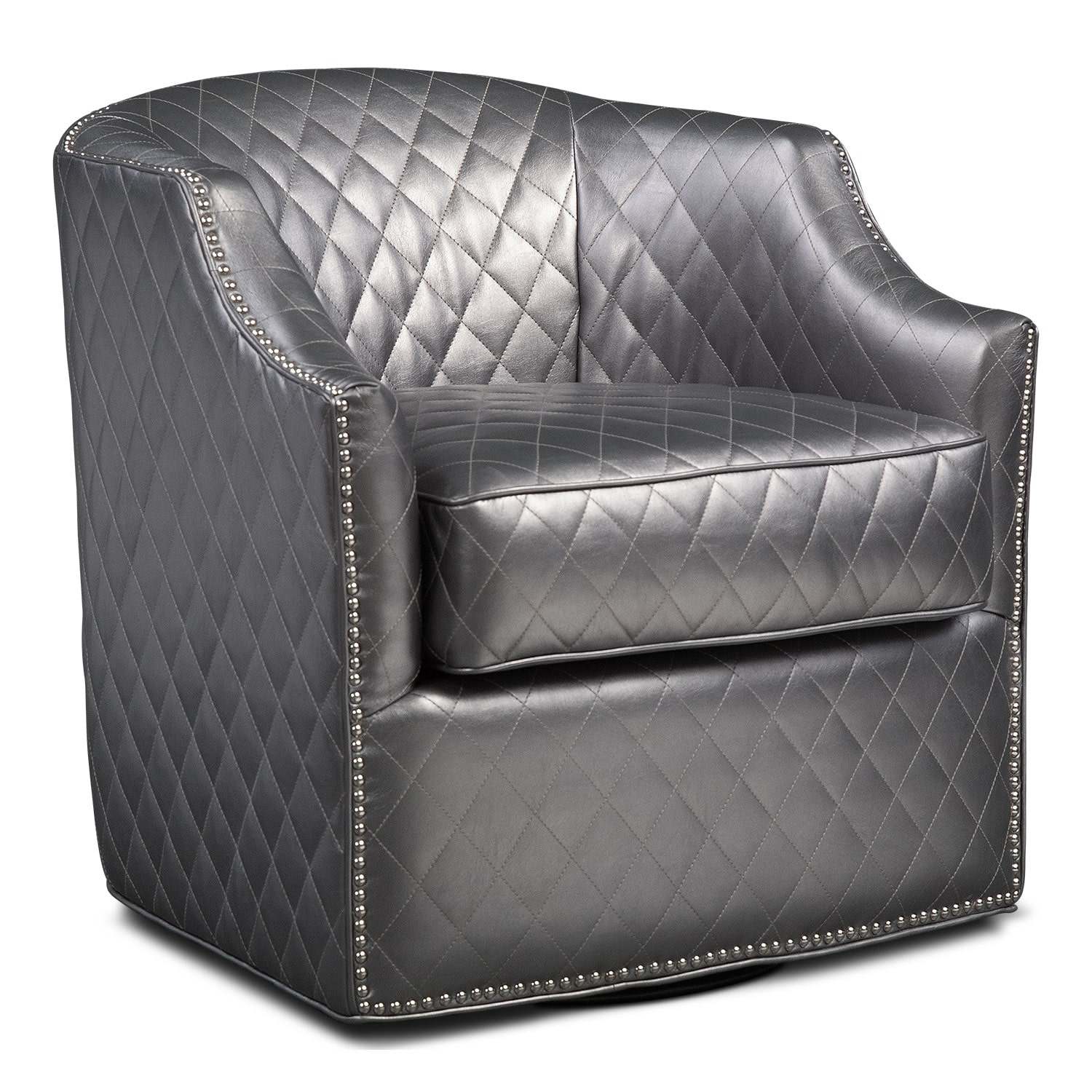 Accent and Occasional Furniture - Roxie Swivel Chair - Pewter