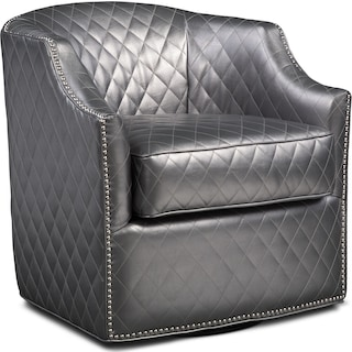 Roxie Swivel Chair - Pewter