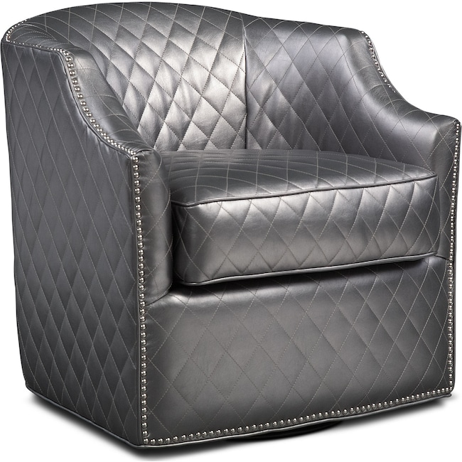 Bedroom Furniture - Roxie Swivel Chair - Pewter