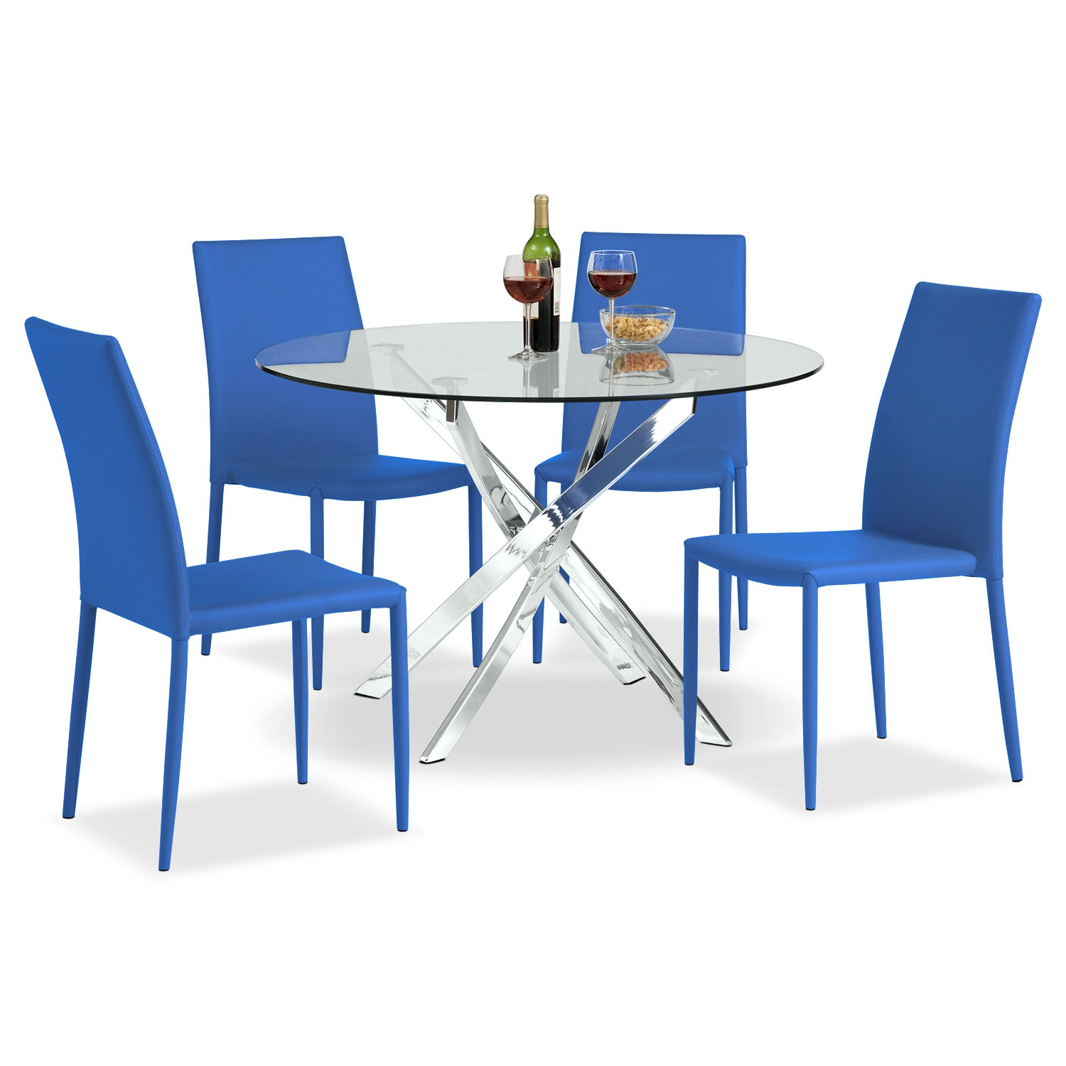 Dining Room Furniture - Quattro Table and 4 Chairs - Blue