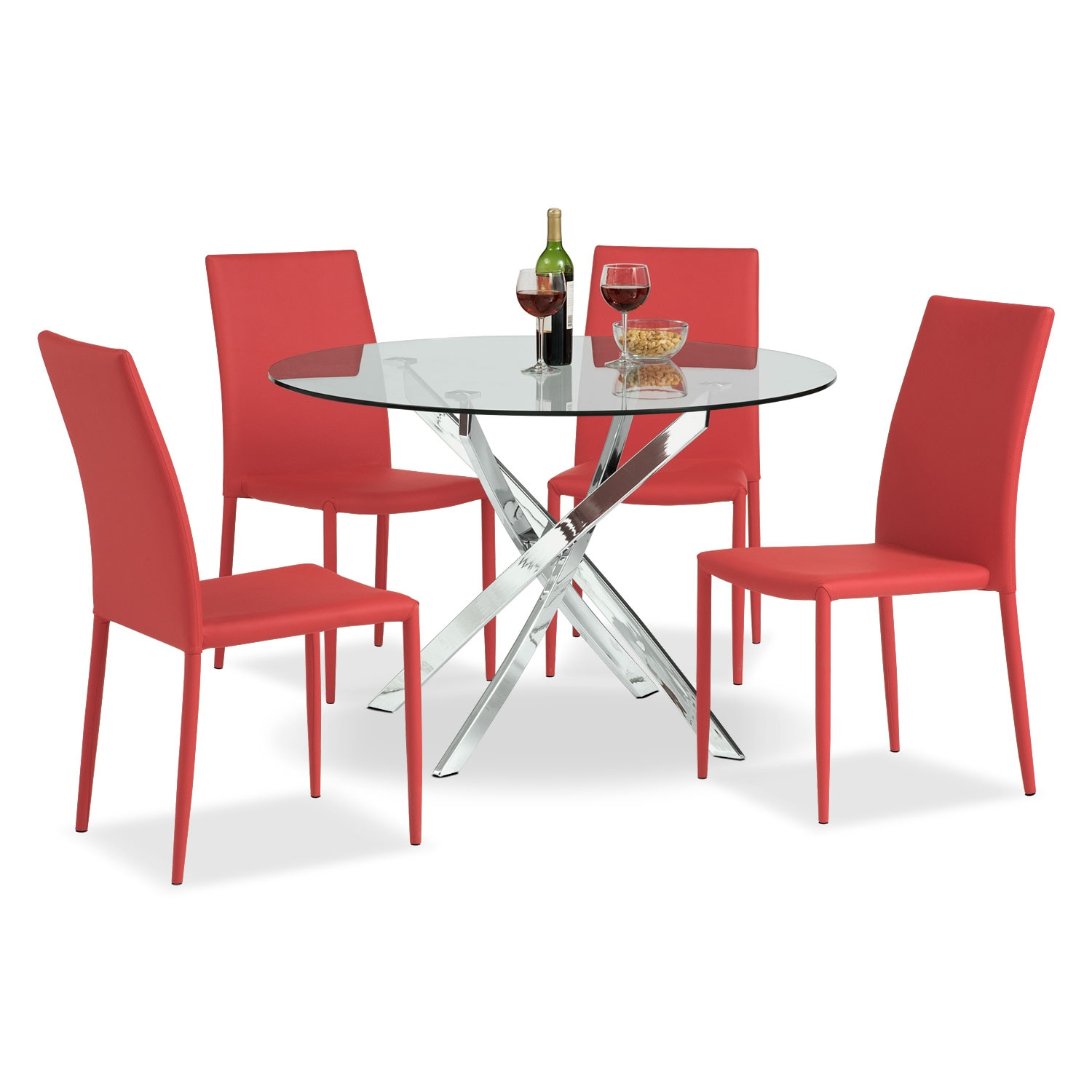 Dining Room Furniture - Quattro 5 Pc. Dinette - Red
