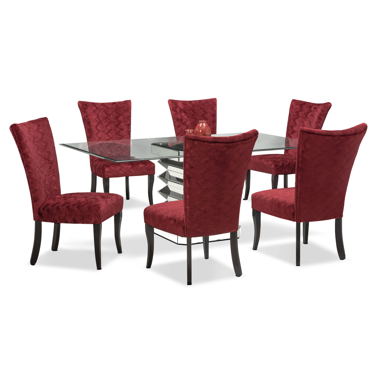 Dining Room Furniture - Vibrato Table and 6 Chairs - Red