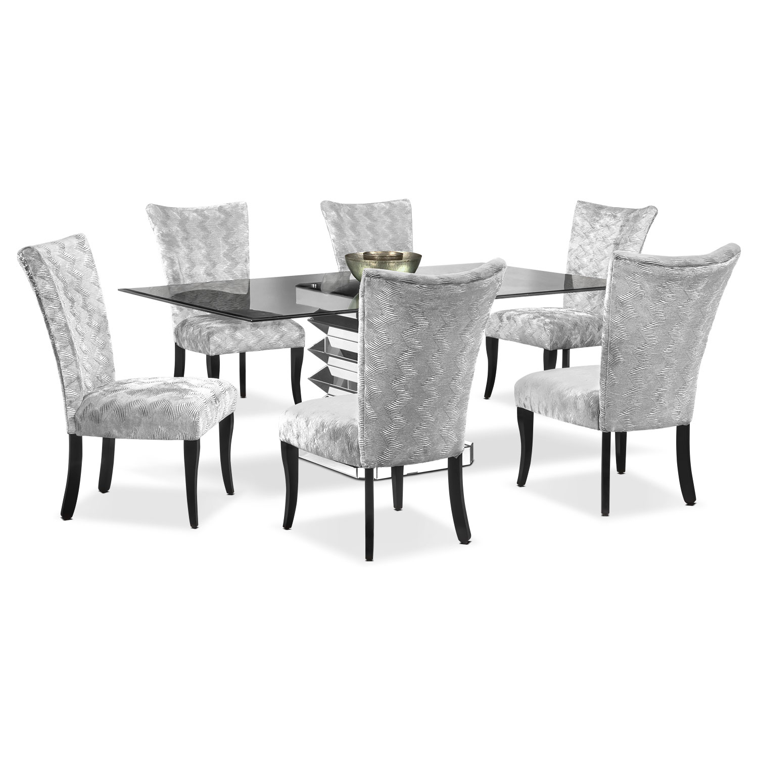 Dining Room Furniture - Vibrato Table and 6 Chairs - Silver