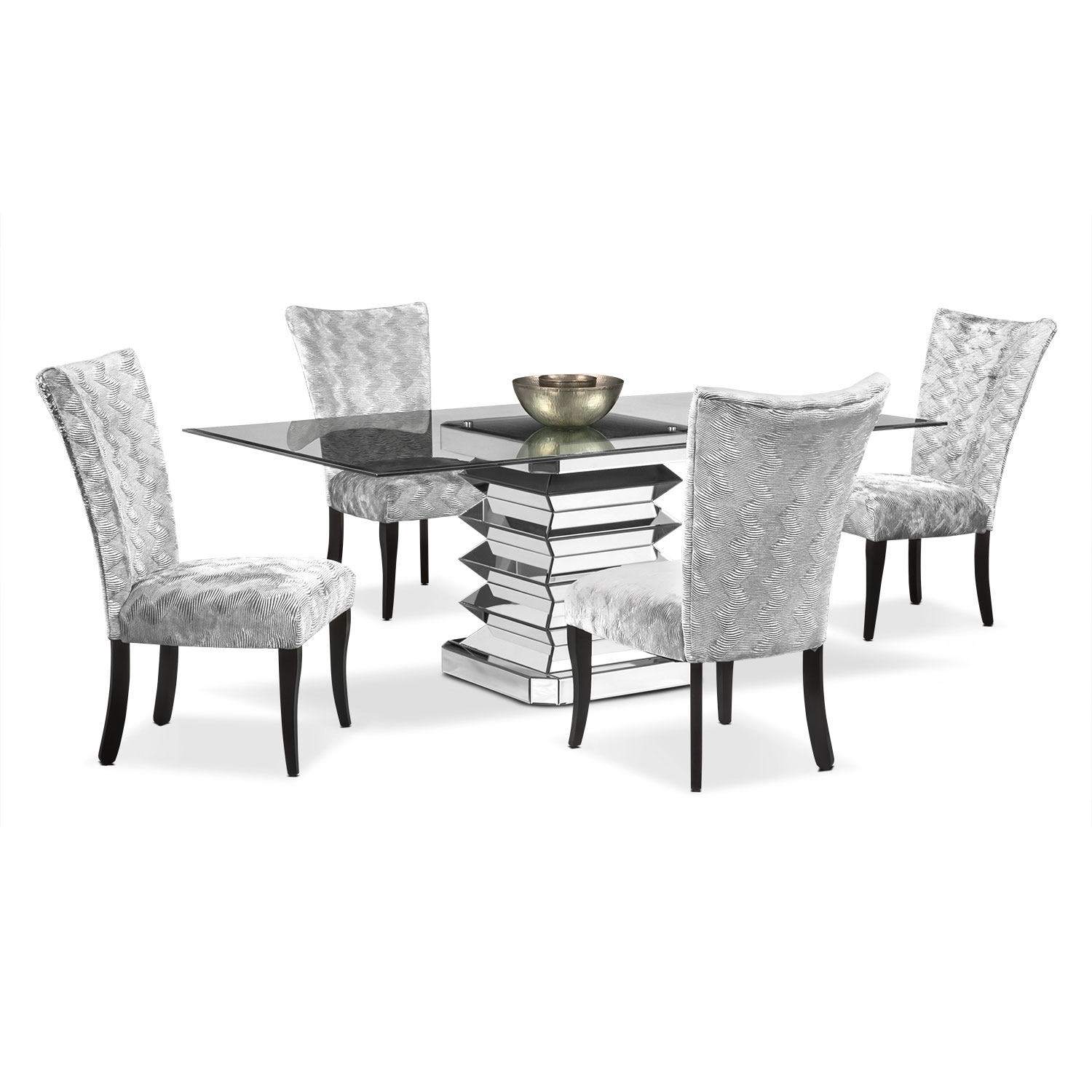 Dining Room Furniture - Vibrato Table and 4 Chairs - Silver