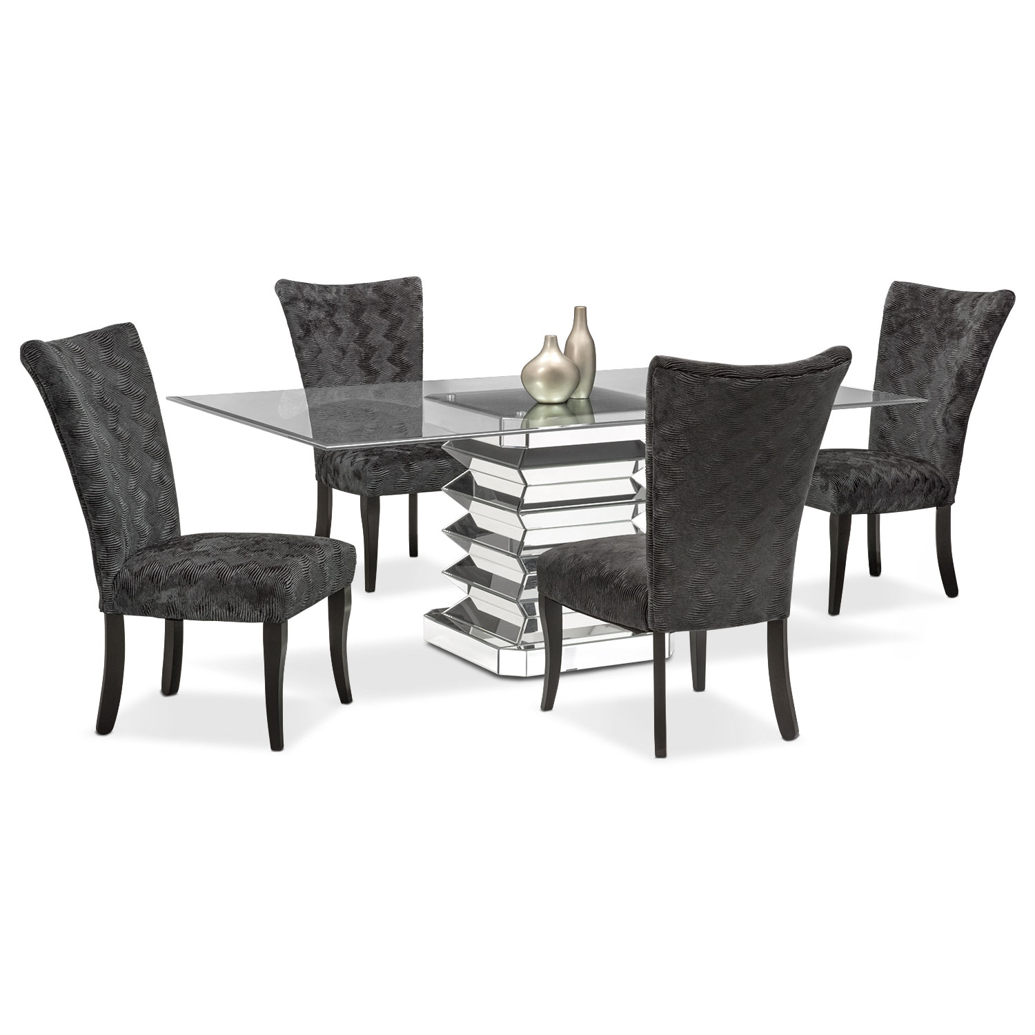 Dining Room Furniture - Vibrato Table and 4 Chairs - Charcoal