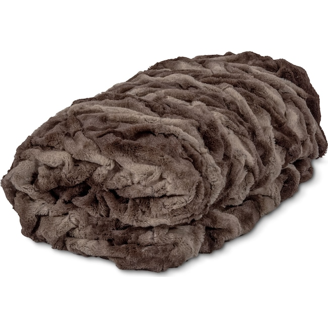Accent and Occasional Furniture - Faux Fur Throw Blanket - Chocolate
