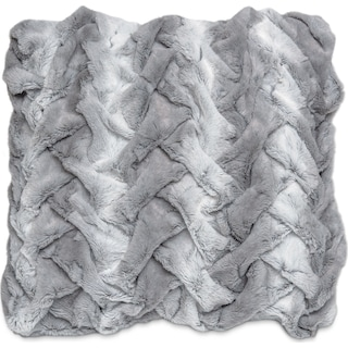 Faux Fur Decorative Pillow - Silver