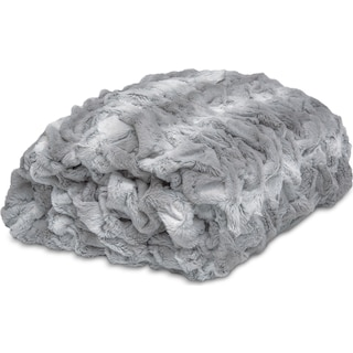 Faux Fur Throw Blanket - Silver