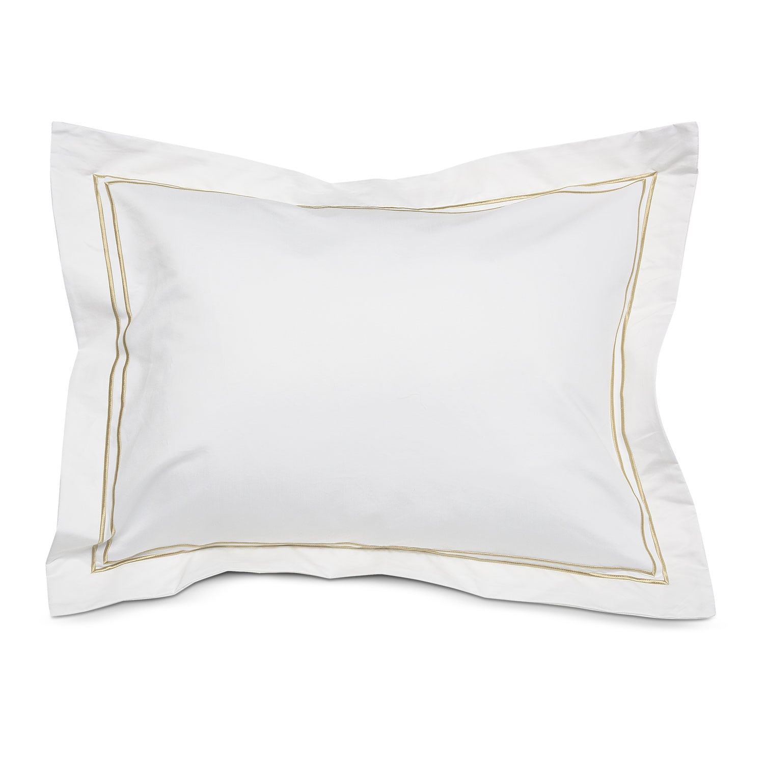 [Hampton Embroidered Euro Sham Set of Two - White and Beige]
