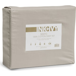 Harbor Queen 300 Thread Count Cotton Sheet Set - Gray