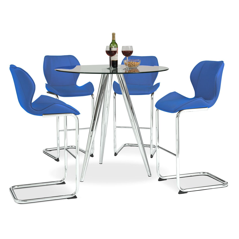 Dining Room Furniture - Metropolitan 5-Piece Dinette - Blue