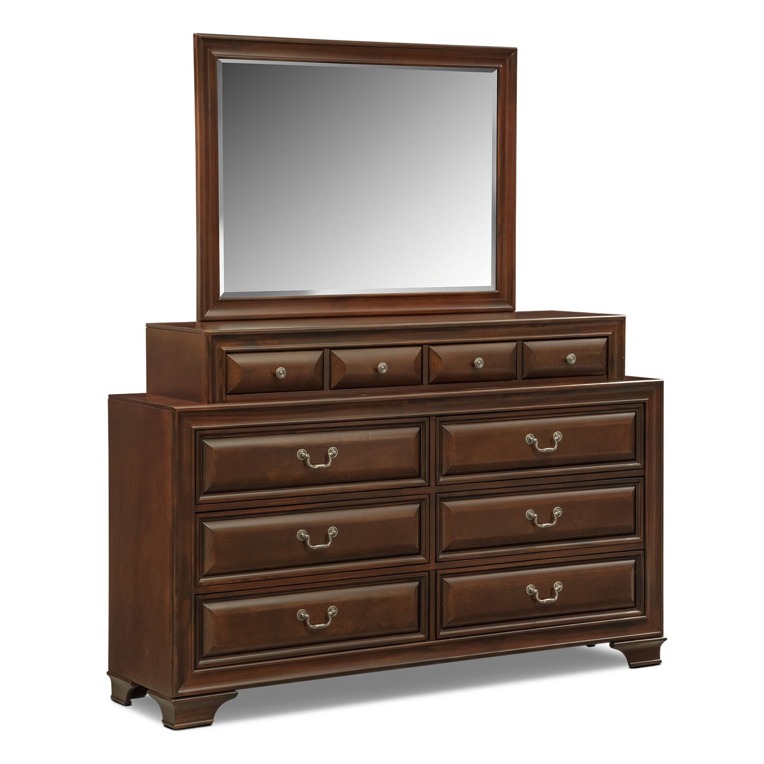 sanibelle dresser and mirror set mahogany value city 14275 | 438925