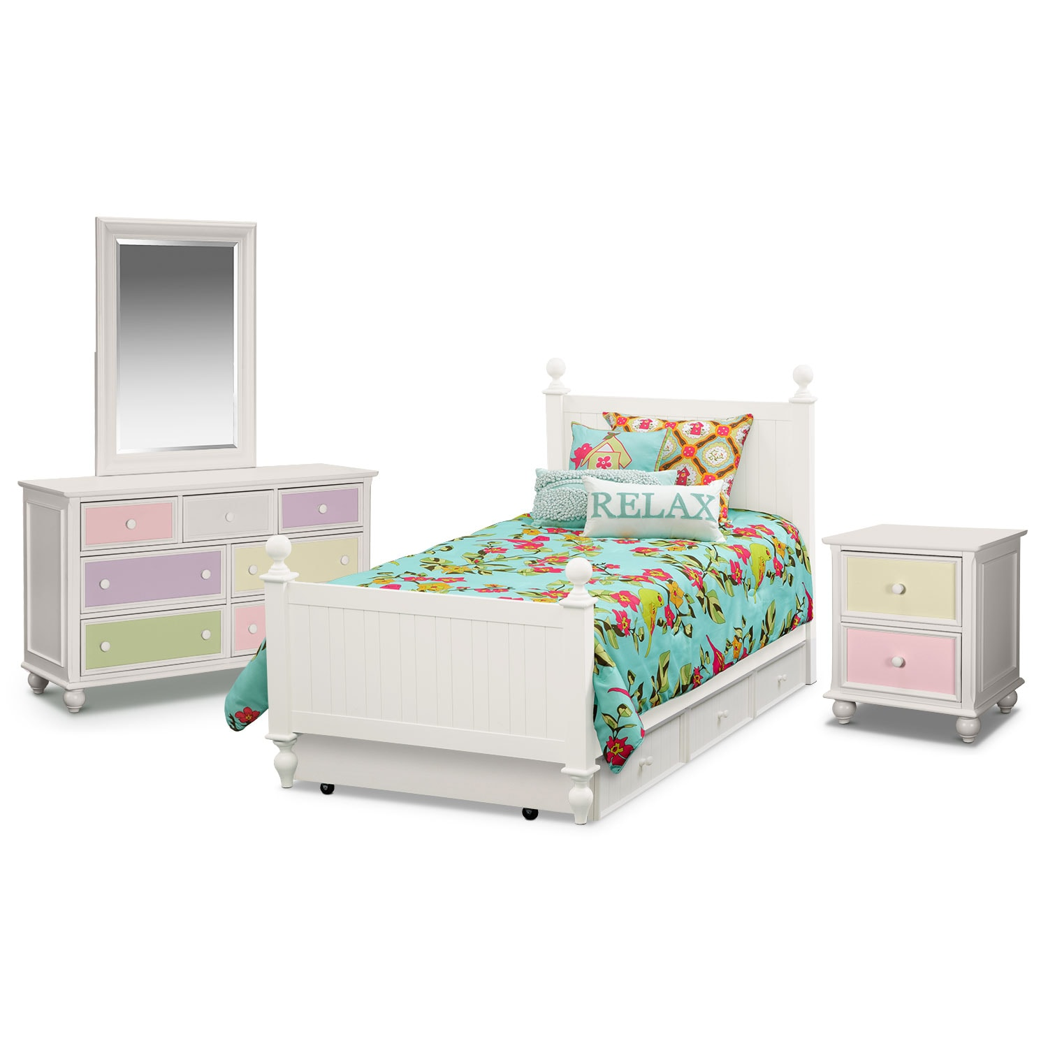 Kids Furniture - Colorworks 7-Piece Twin Bedroom Set w/ Trundle - White