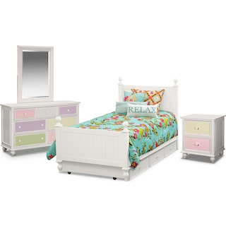 Colorworks 7-Piece Bedroom Set with Trundle, Nightstand, Dresser and Mirror