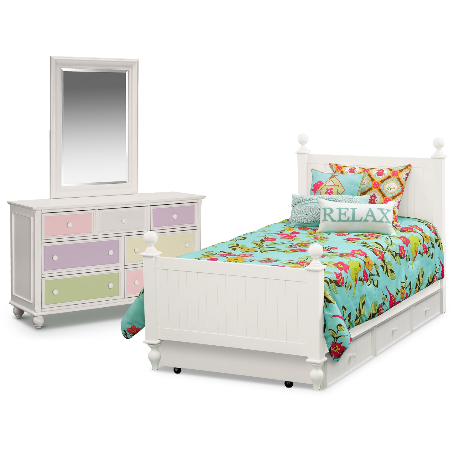 Colorworks 6-Piece Full Bedroom Set with Trundle - White