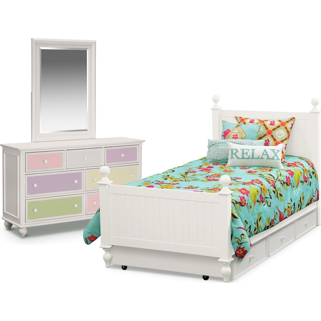 Kids Furniture - Colorworks 6-Piece Full Bedroom Set with Twin Trundle, Dresser and Mirror - White