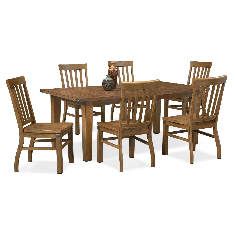 Dining Room Furniture - Salem 7-Piece Dinette Set - Pecan