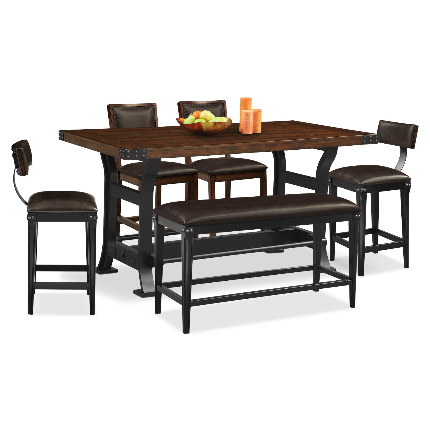 Newcastle 6 Pc. Counter-Height Dining Room w/ 2 Chairs, 2 Stools and Bench