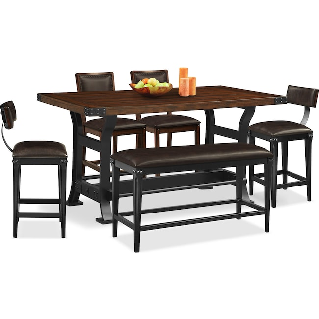 Dining Room Furniture - Newcastle Counter-Height Table, 2 Chairs, 2 Stools and Bench - Mahogany