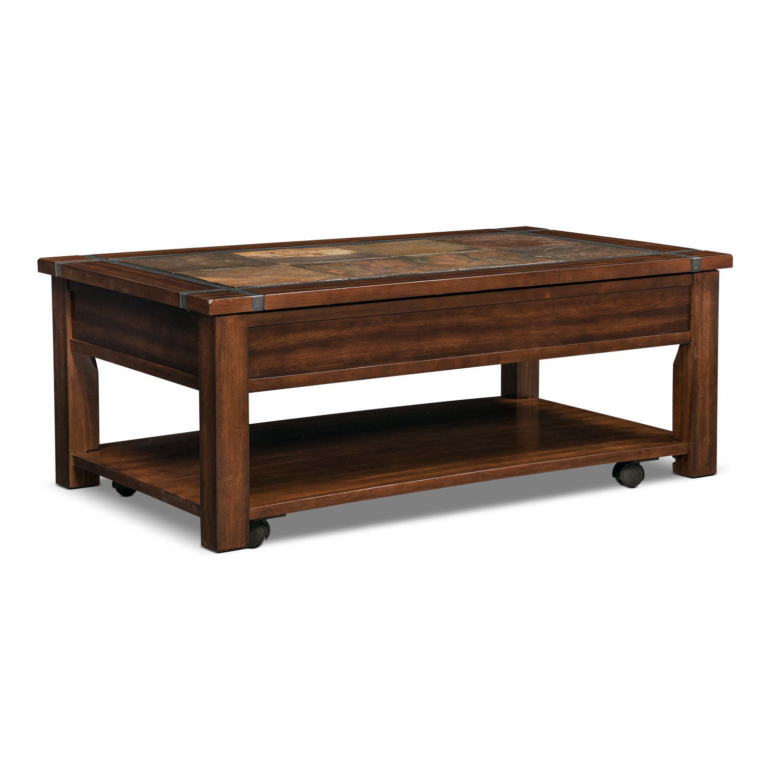 Slate Ridge LiftTop Cocktail Table Cherry Value City Furniture - Dining table with slate inlay