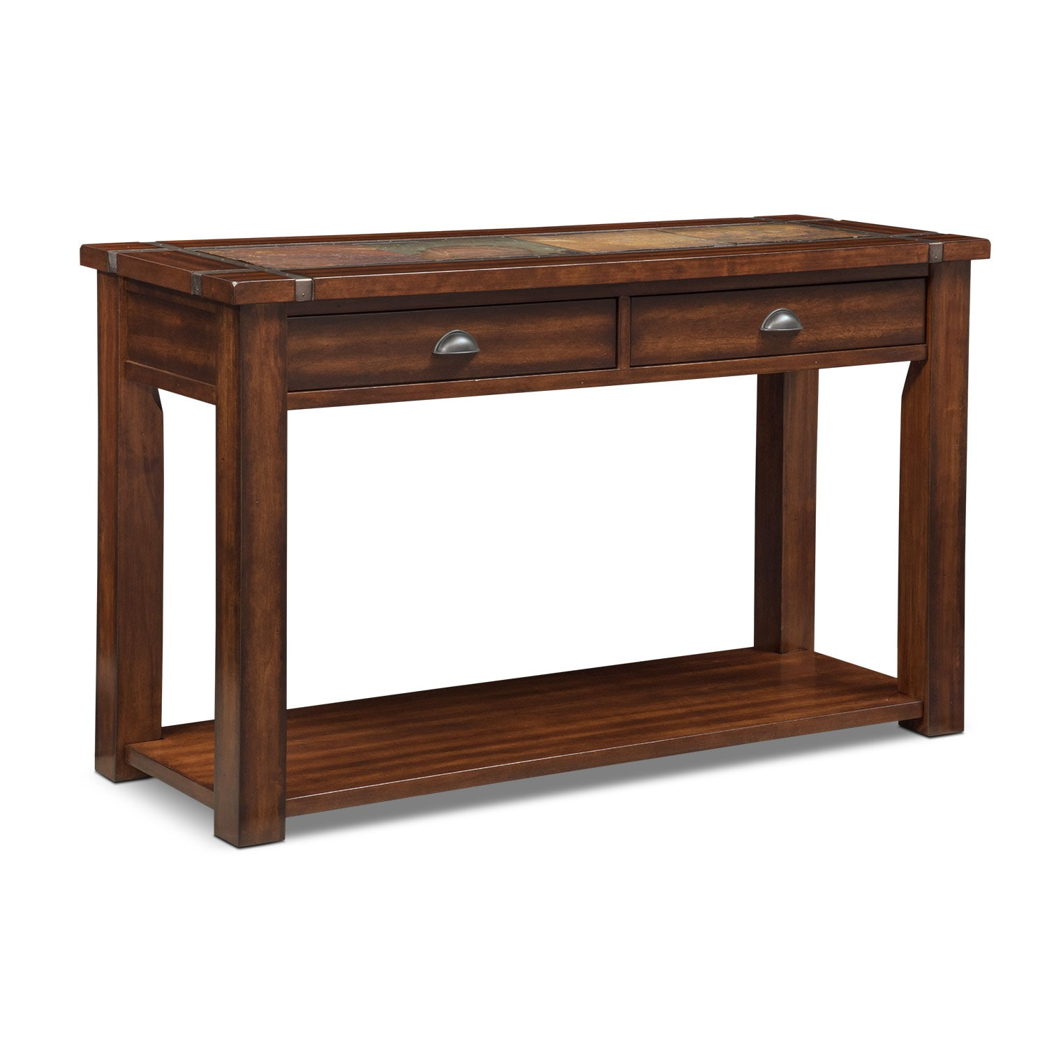 slate ridge sofa table cherry value city furniture and mattresses rh valuecityfurniture com cherry sofa table plans traditional cherry sofa table