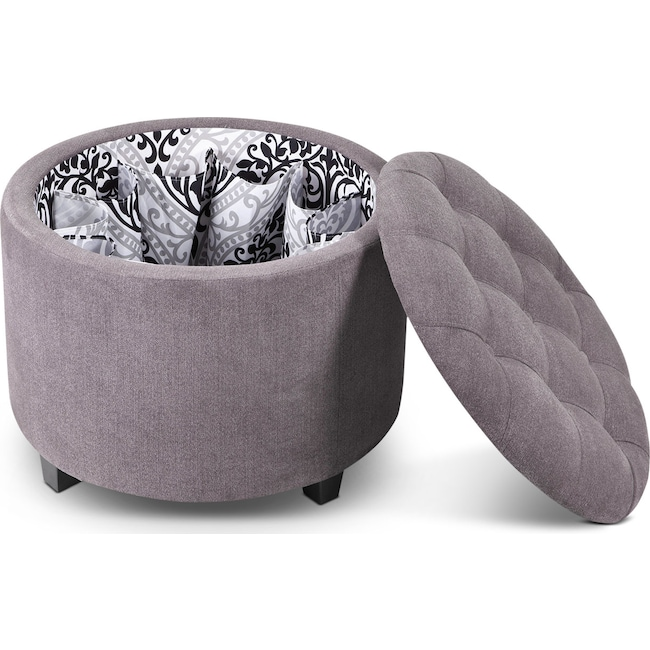 Living Room Furniture - Lisbon Ottoman with Shoe Holder - Gray