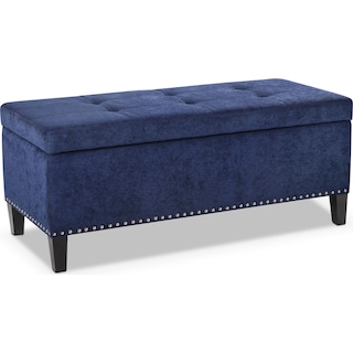 Harper Storage Bench   Blue. Free Shipping on Select Items   Value City Furniture and Mattresses