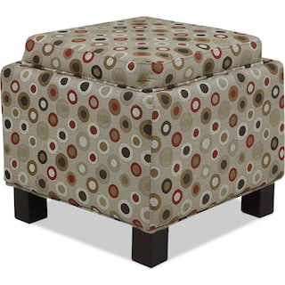 Hayes Storage Ottoman with 2 Pillows - Circles