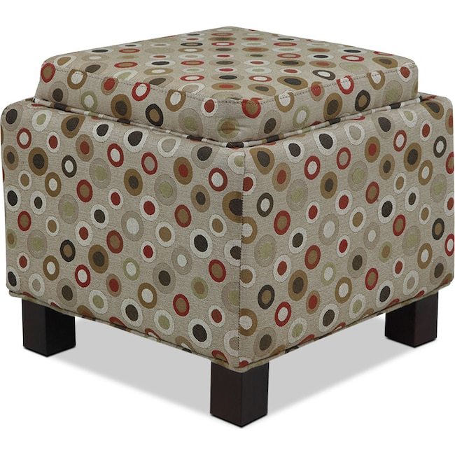 Accent and Occasional Furniture - Hayes Storage Ottoman with 2 Pillows - Circles