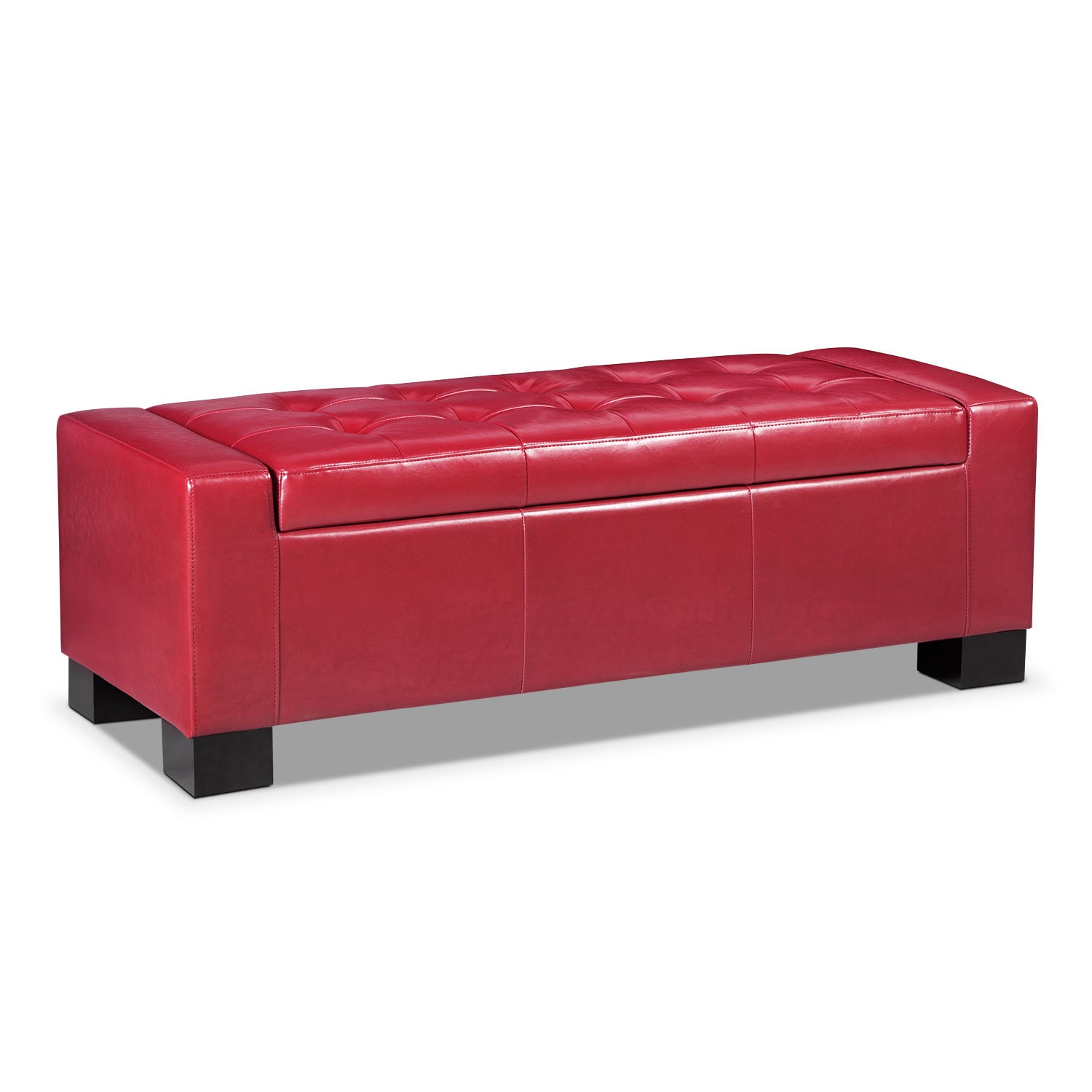 Living Room Furniture - Jive Storage Ottoman - Red