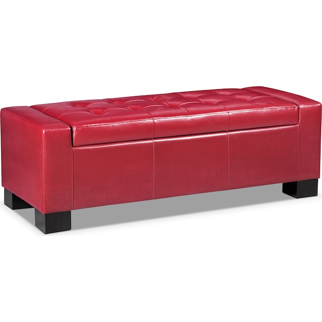 Living Room Furniture - Jive Storage Ottoman - Red